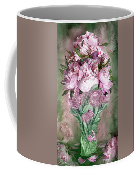 Carol Cavalaris Coffee Mug featuring the mixed media Pink Peonies In Peony Vase by Carol Cavalaris