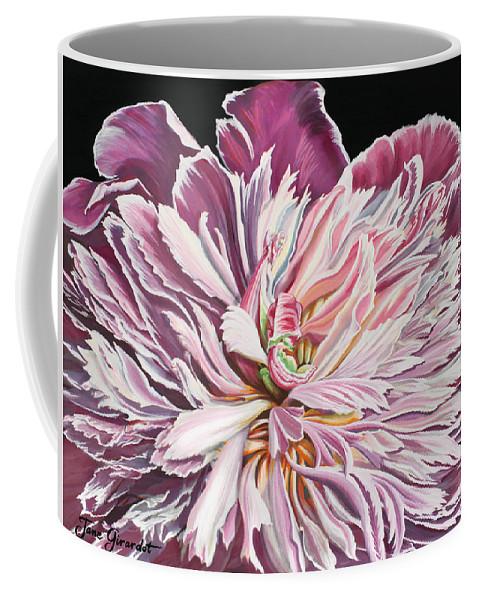 Flower Coffee Mug featuring the painting Pink Peony by Jane Girardot