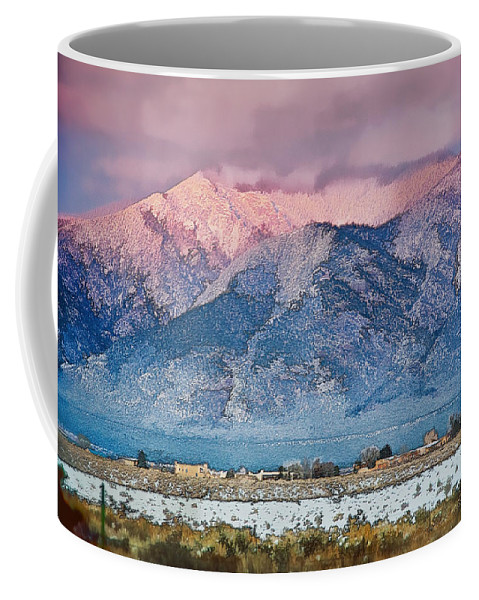 Santa Coffee Mug featuring the mixed media Pink Sunset On Taos Mountain by Charles Muhle