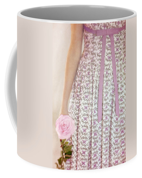 Caucasian; Teen; Teenager; Young Woman; Female; Beautiful; Lovely; Gorgeous; Petite; Prim; Proper; Butterflies; Dress; Bow; Ribbon; Flower; Single; Rose; Pink; Holding; Figure; Arm; Hand Coffee Mug featuring the photograph Pink Sweetness by Margie Hurwich