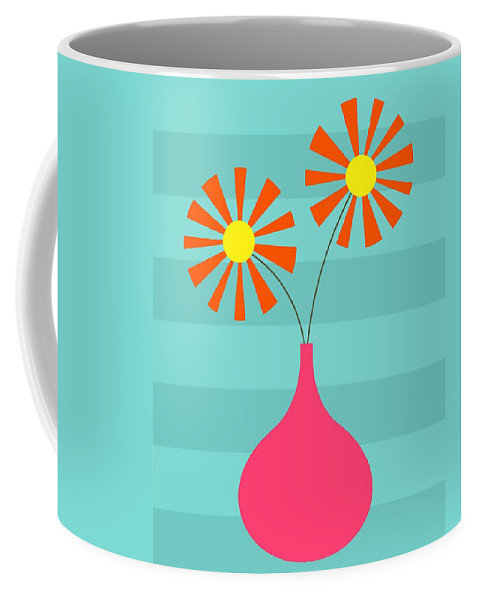 70s Coffee Mug featuring the digital art Pink Vase On Blue by Donna Mibus