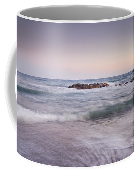 Seascape Coffee Mug featuring the photograph Pink Waves by Guido Montanes Castillo