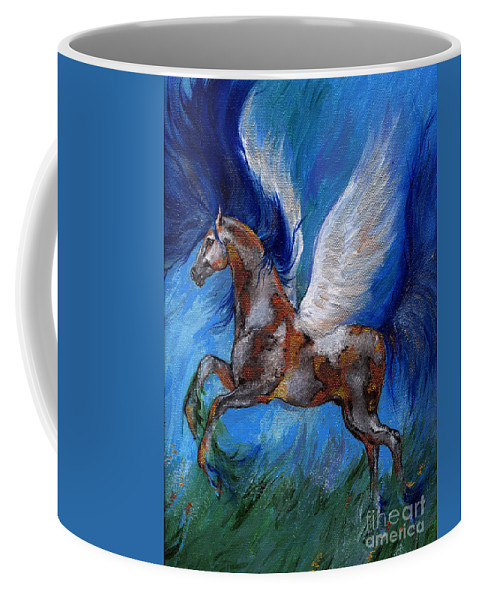 Fairytale Coffee Mug featuring the painting Pinto Pegasus With Blue Mane by Angel Ciesniarska