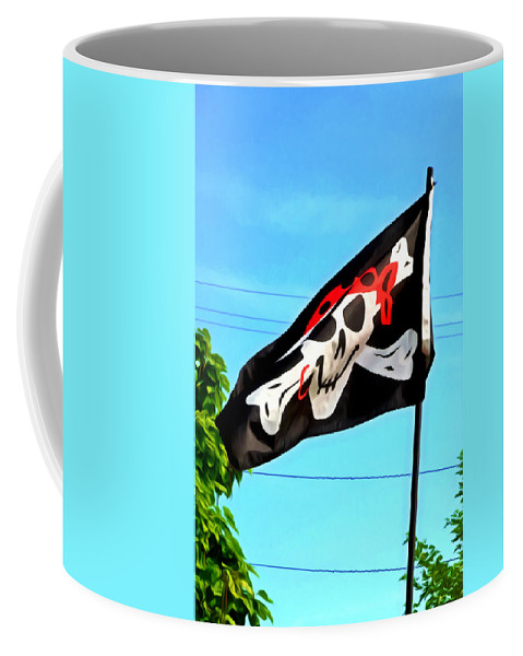 Bad Coffee Mug featuring the painting Pirate Ship Flag Of The Skull And Crossbones by Jeelan Clark