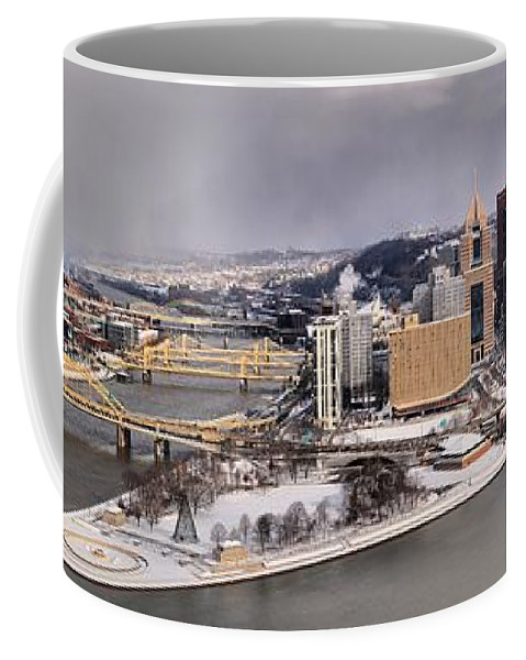 Pittsburgh Skyline Coffee Mug featuring the photograph Pittsburgh's First Snow Of 2015 by Adam Jewell