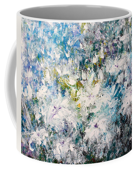 White Flowers Coffee Mug featuring the painting Place Where The Flowers Bloom Forever by Kume Bryant