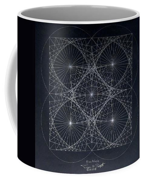 Coffee Mug featuring the drawing Plancks Blackhole by Jason Padgett