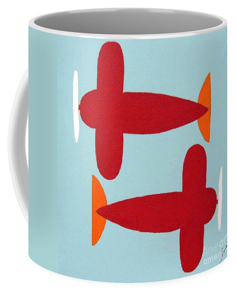 Kids Art Coffee Mug featuring the painting Planes by Graciela Castro