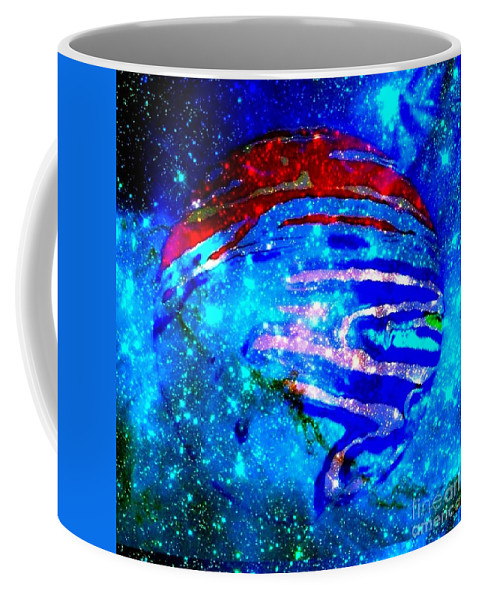 Planet Coffee Mug featuring the digital art Planet Disector Blue/red by Saundra Myles