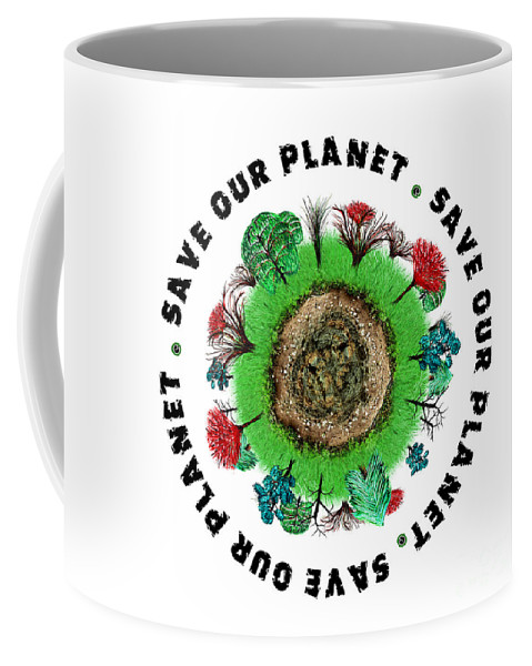Planet Coffee Mug featuring the painting Planet Earth Icon With Slogan by Simon Bratt Photography LRPS