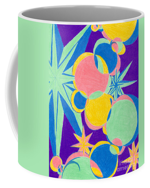 Color Coffee Mug featuring the drawing Planets And Stars by Kim Sy Ok