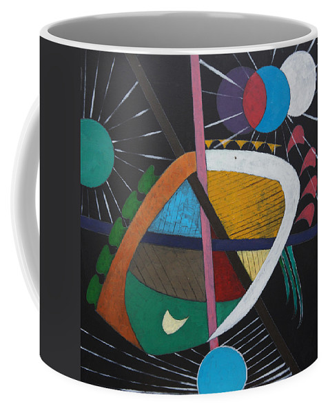 Acrylic Coffee Mug featuring the painting Planets by Sergey Bezhinets