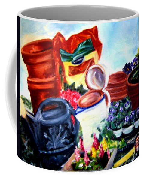 Plants Coffee Mug featuring the painting Planting Day by Sandy Ryan
