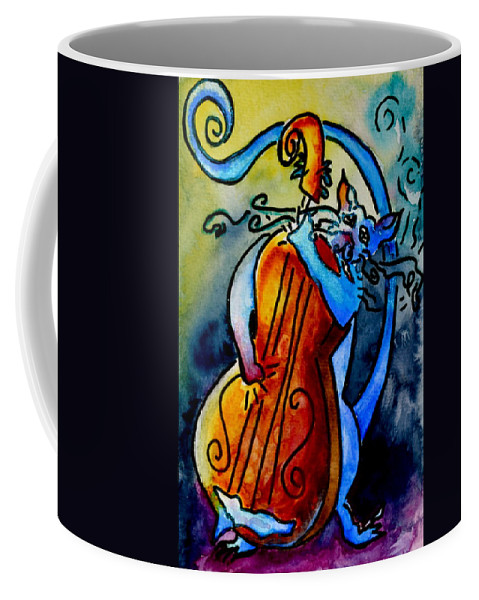 Cat Coffee Mug featuring the painting Play A Smokin' Tune by Beverley Harper Tinsley