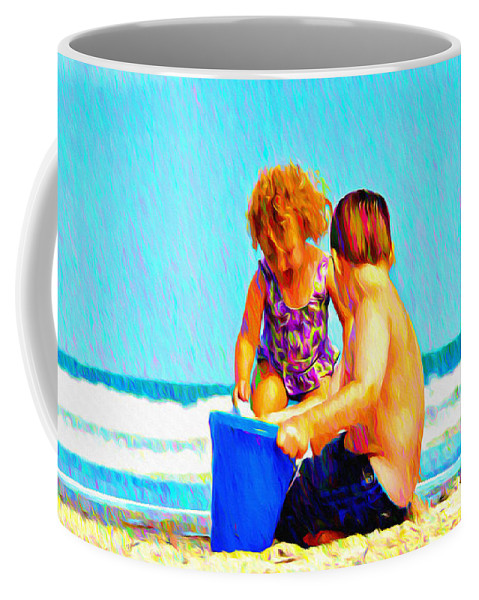Playing In The Sand Coffee Mug featuring the photograph Playing In The Sand by Bill Cannon