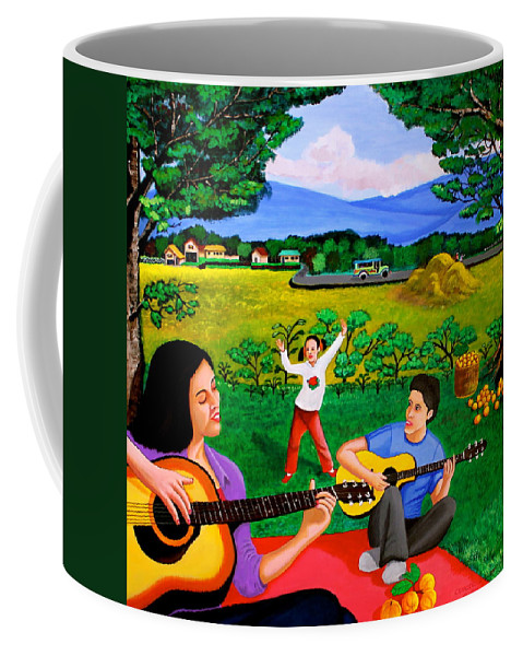 Guitar Coffee Mug featuring the painting Playing Melodies Under The Shade Of Trees by Cyril Maza