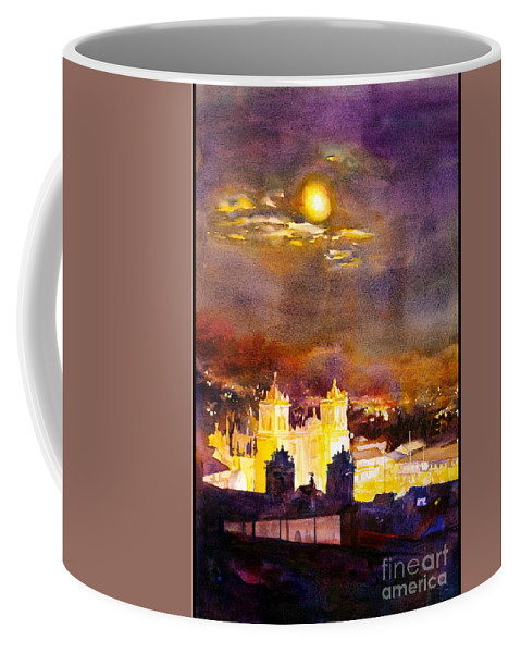 Cathedral Coffee Mug featuring the painting Plaza De Armas- Cusco by Ryan Fox