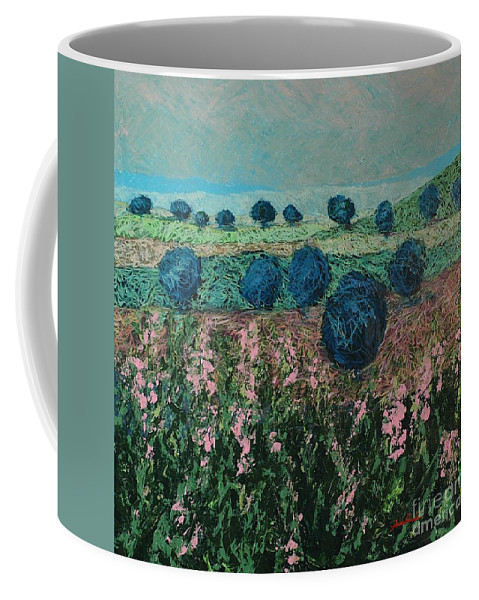 Landscape Coffee Mug featuring the painting Pleasant Meadows by Allan P Friedlander