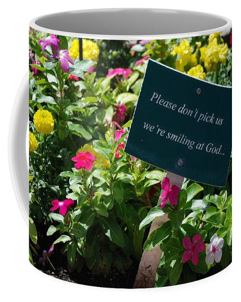 Flowers Coffee Mug featuring the photograph Please Don't Pick Us by Dany Lison