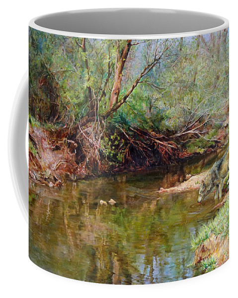 Wolf Coffee Mug featuring the painting Pleasure Of The Enchanted Wolf by Svitozar Nenyuk