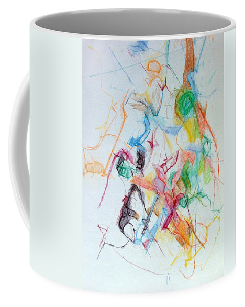 Torah Coffee Mug featuring the drawing Plunging The Depths Of Being 1 by David Baruch Wolk