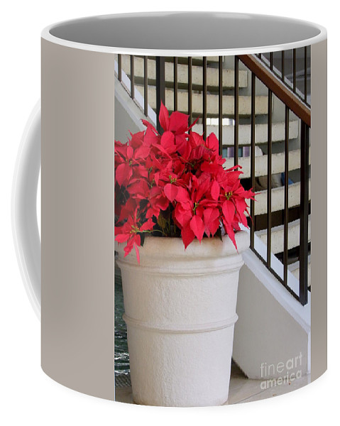 Poinsettia Coffee Mug featuring the photograph Poinsettias By The Stairway by Mary Deal