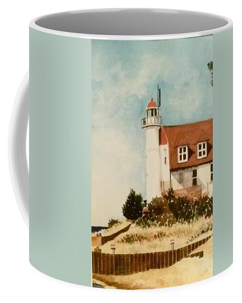 Point Betsie Lighthouse Coffee Mug featuring the painting Point Betsie Lighthouse by Debra L Pate