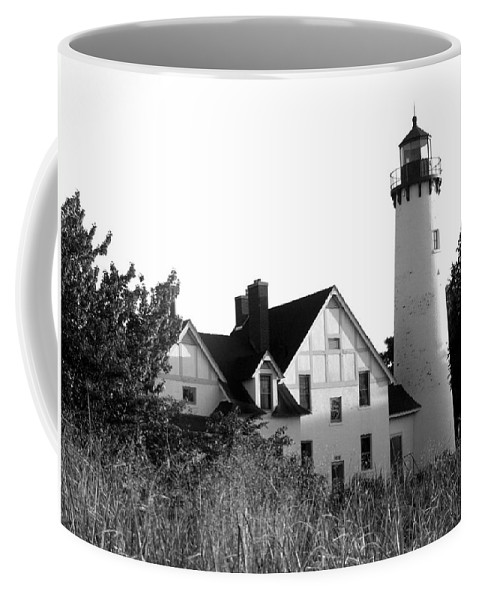 Black And White Coffee Mug featuring the photograph Point Iroquois Lighthouse In B/w by Sharon McLain