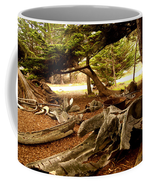 Whalers Cabin Coffee Mug featuring the digital art Point Lobos Whalers Cove Whale Bones by Barbara Snyder