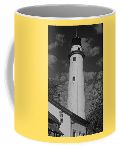 Lighthouse Coffee Mug featuring the photograph Pointe Aux Barques Lighthouse Black And White by Daniel Thompson