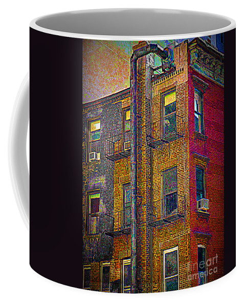 New York Coffee Mug featuring the photograph Pointillism In Steel And Brick by Miriam Danar