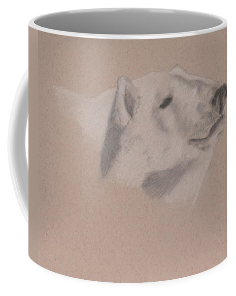 Polar Bear Coffee Mug featuring the drawing Polarization by Crystal Hubbard