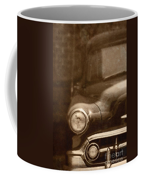 Antique; Car; Windows; Driving; Auto; Automobile; Automotive; Classic; Drive; Old; Front; Fender; Transportation; Vehicle; Vintage; Sepia; Headlight; Chrome; Hood; Chevy; Chevrolet Coffee Mug featuring the photograph Police by Margie Hurwich