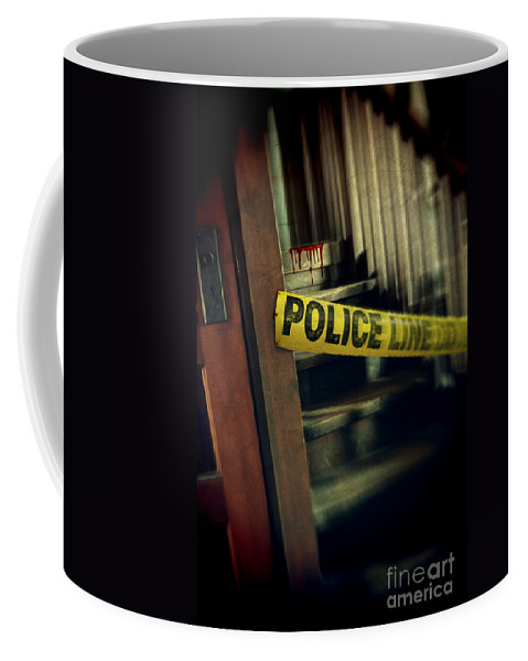 Police Coffee Mug featuring the photograph Police Tape Blocking Bloody Stairs by Jill Battaglia