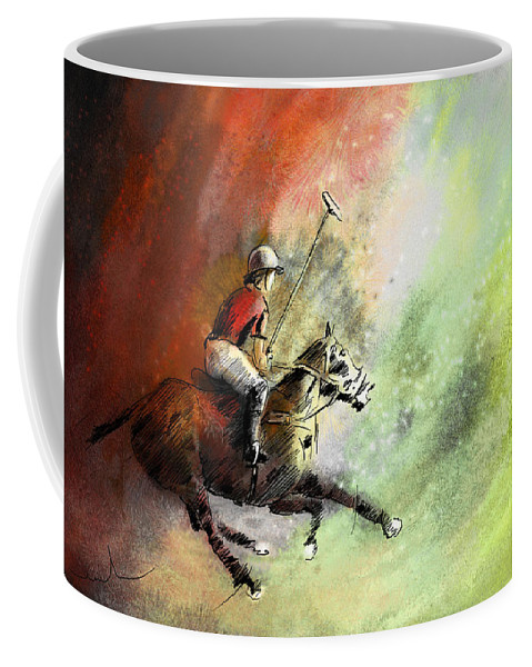 Sports Coffee Mug featuring the painting Polo 01 by Miki De Goodaboom