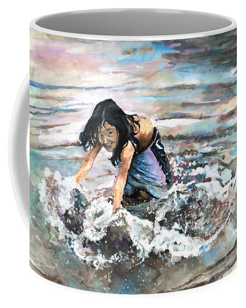 Travel Coffee Mug featuring the painting Polynesian Child Playing With Water by Miki De Goodaboom