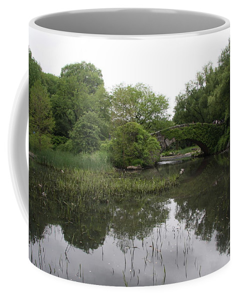 Pond Coffee Mug featuring the photograph Pond And Bridge by Christiane Schulze Art And Photography