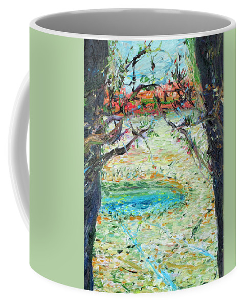 Pond Coffee Mug featuring the painting Pond by Fabrizio Cassetta