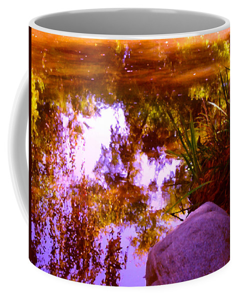 Landscapes Coffee Mug featuring the painting Pond Reflextions by Amy Vangsgard