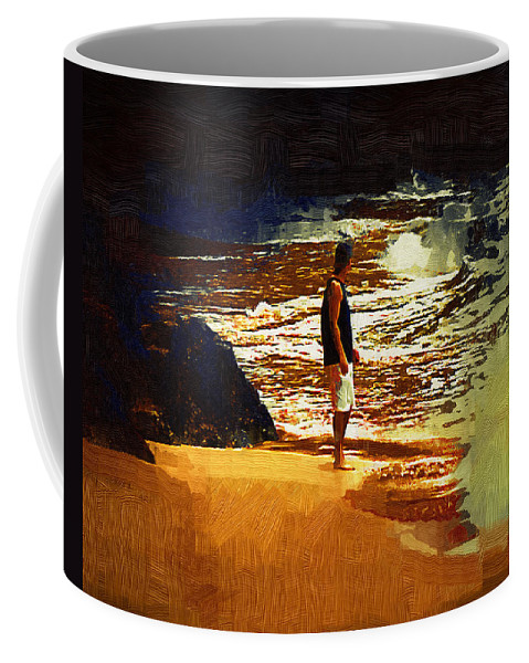 Beach Coffee Mug featuring the painting Pondering by Kirt Tisdale