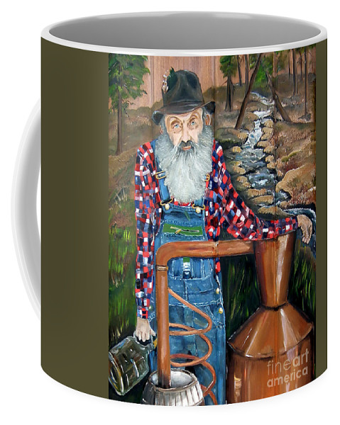 Popcorn Sutton Coffee Mug featuring the painting Popcorn Sutton - Bootlegger - Still by Jan Dappen