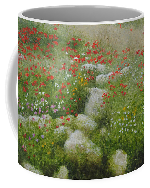 Landscape Coffee Mug featuring the painting Poppies And Wildflowers by Richard Ginnett