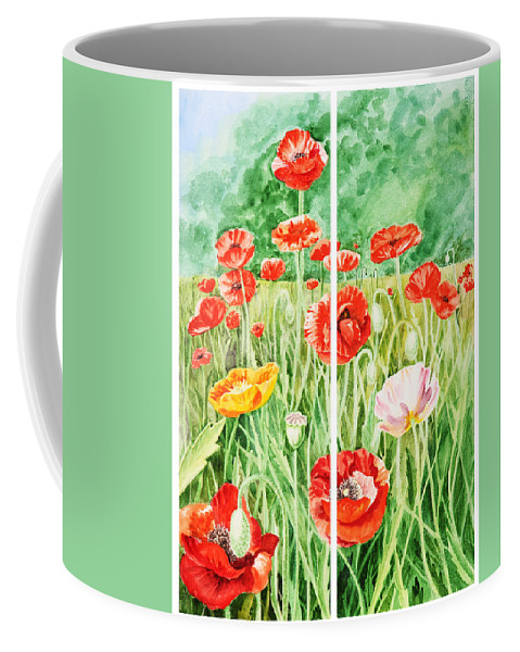 Poppy Coffee Mug featuring the painting Poppies Collage I by Irina Sztukowski