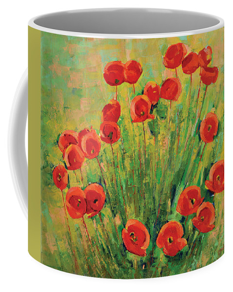 Poppies Coffee Mug featuring the painting Poppies by Iliyan Bozhanov