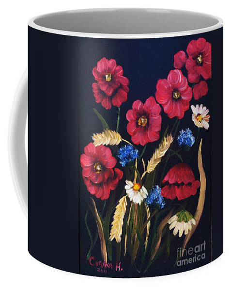 Floral Coffee Mug featuring the painting Poppies In Oils by Corina Hogan