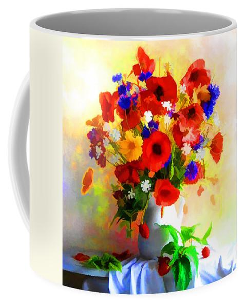 Poppy flower arrangement coffee mug for sale by lyriel lyra front right view mightylinksfo
