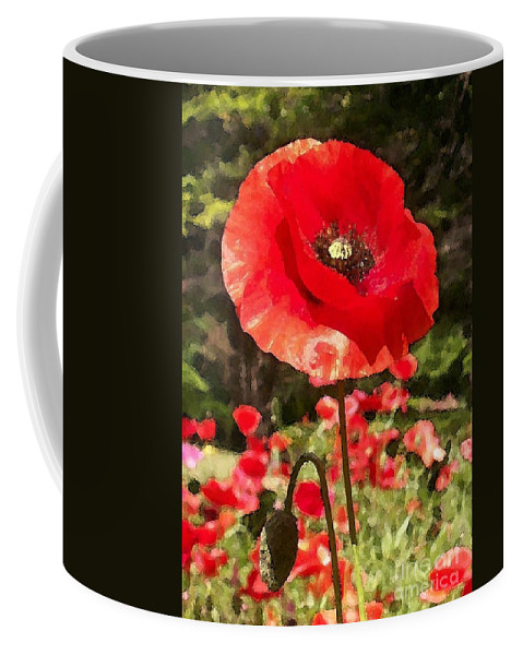 Poppy Coffee Mug featuring the photograph Poppy Watercolor Effect by Laurie Eve Loftin