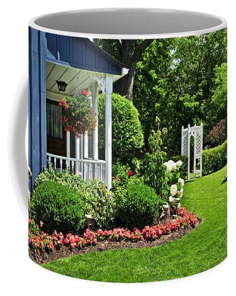 Landscaped Coffee Mug featuring the photograph Porch And Garden by Elena Elisseeva