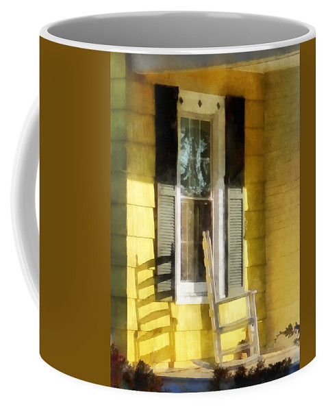 Shadow Coffee Mug featuring the photograph Porch - Long Afternoon Shadow Of Rocking Chair by Susan Savad