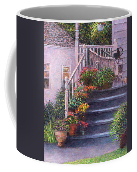 Porch Coffee Mug featuring the painting Porch With Watering Cans by Susan Savad